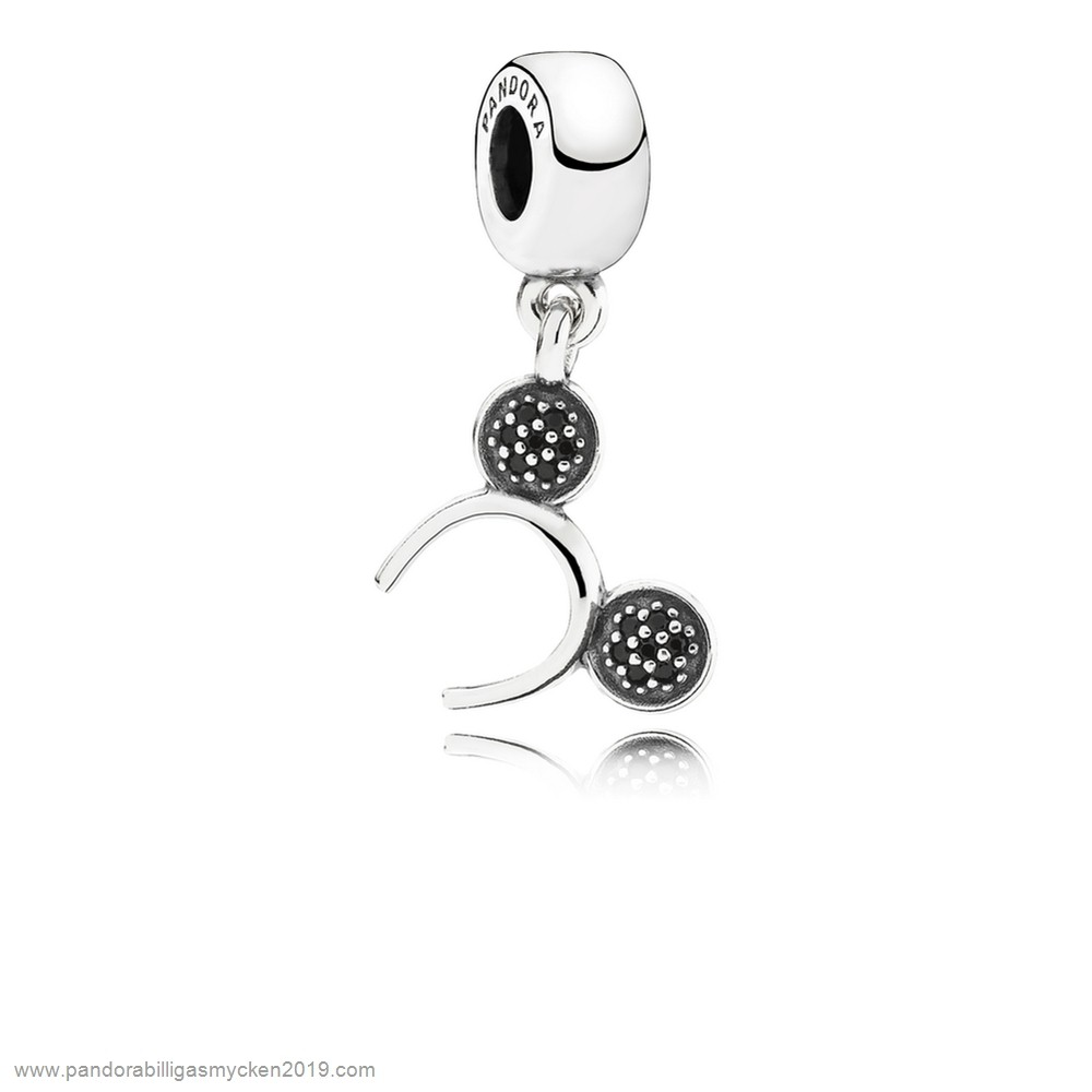 Pandora Rea Smycken Pandora Disney, Mickey Headband Dangle Charm, Black Cz